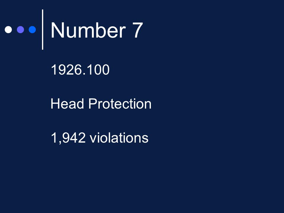 Number 7 1926.100 Head Protection 1,942 violations