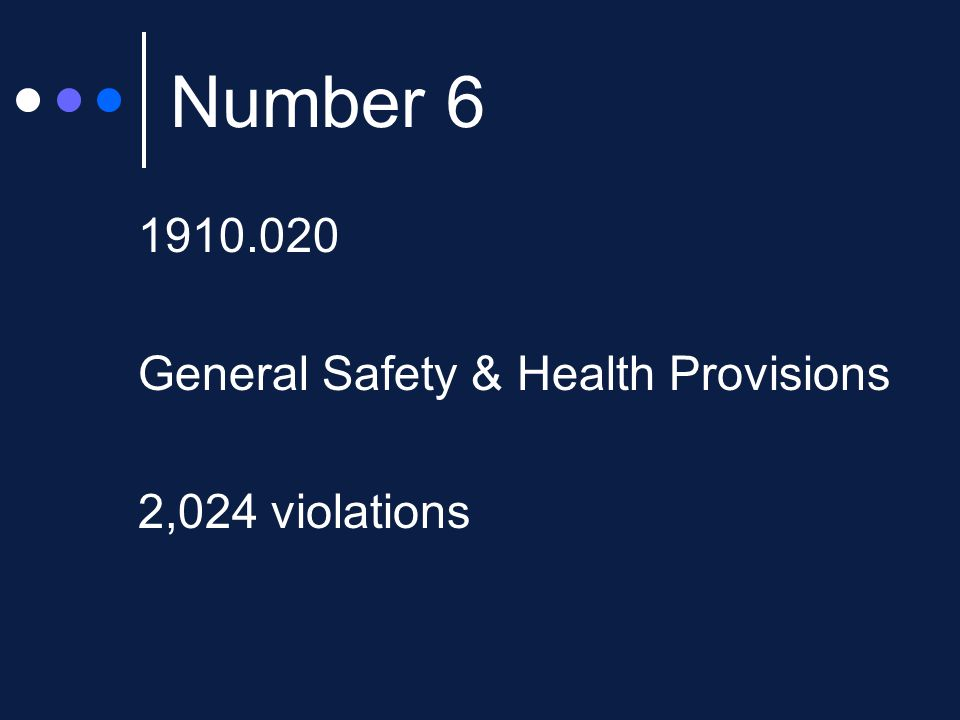 Number 6 1910.020 General Safety & Health Provisions 2,024 violations