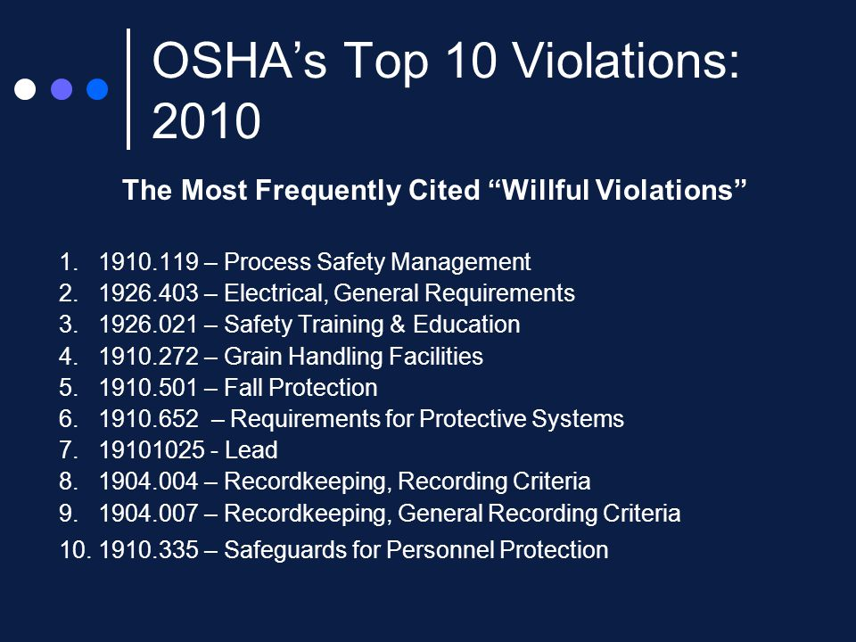 OSHA's Top 10 Violations: 2010 The Most Frequently Cited Willful Violations 1.