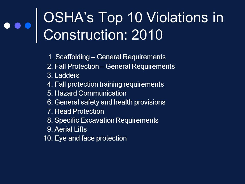 OSHA's Top 10 Violations in Construction: 2010 1. Scaffolding – General Requirements 2.