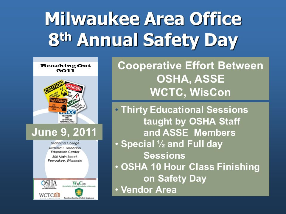 Milwaukee Area Office 8 th Annual Safety Day Cooperative Effort Between OSHA, ASSE WCTC, WisCon Thirty Educational Sessions taught by OSHA Staff and ASSE Members Special ½ and Full day Sessions OSHA 10 Hour Class Finishing on Safety Day Vendor Area Reaching Out 2011 June 9, 2011