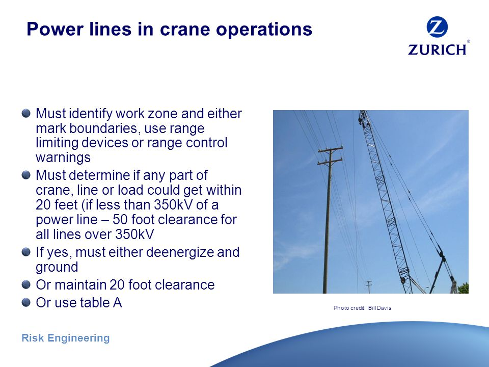 Risk Engineering Crane setup – power lines No part of crane, line or load may be able to reach within 20 feet of a power line during setup Exceptions: De-energize and ground power lines – or - Use of a dedicated spotter – or - Proximity alarms* Assembly/disassembly below power lines is prohibited Photo credit: Bill Davis