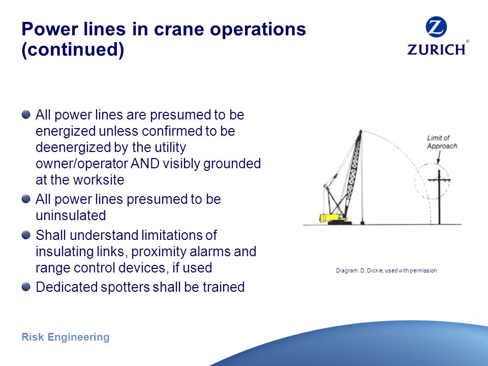 Risk Engineering Power lines in crane operations (continued) Special requirements for working below power lines Non-conductive rigging required Training of operators and crew required to include: Procedures to follow after power line contact Operator's emergency procedures Safest means to evacuate equipment Danger of a potential energized zone Need for crew to avoid approach Safe clearance from power lines Photo credit – OSHA website (public domain)