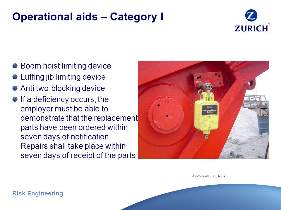 Risk Engineering Operational aids Operations shall not begin unless the operational aids are in proper working order, except where the employer meets the specified temporary alternative measures: Category I Category II