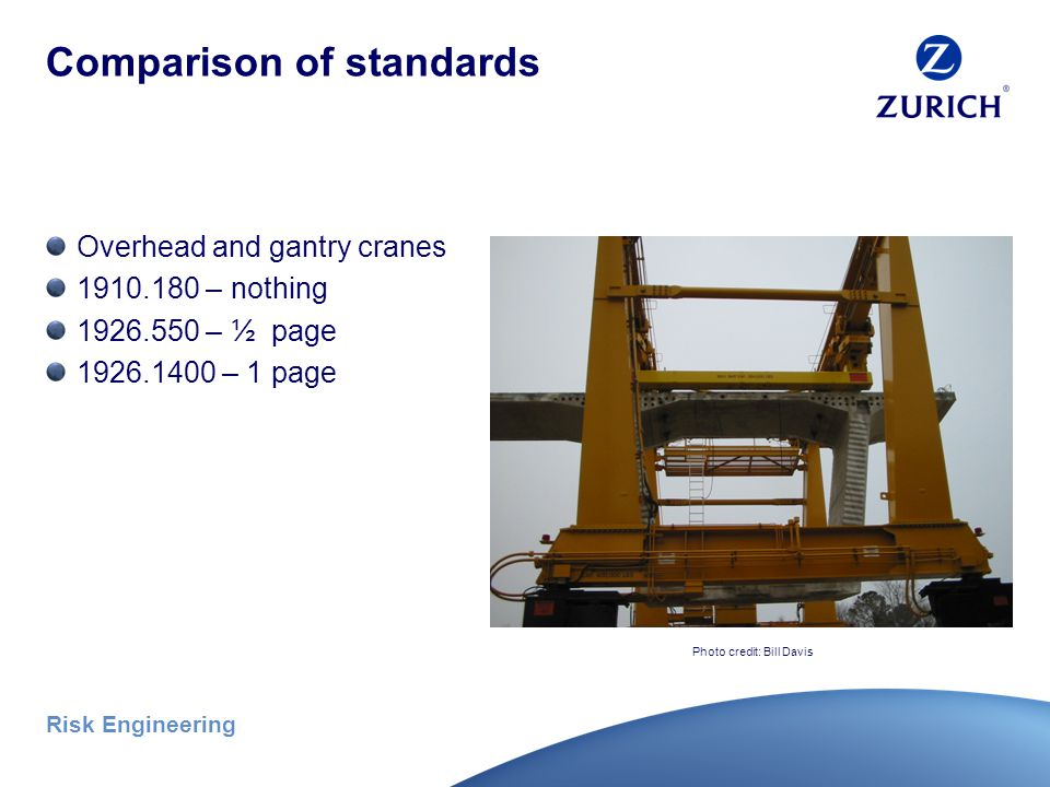 Risk Engineering Comparison of standards Floating cranes 1910.180 – nothing 1926.550 – 1 page 1926.1400 – 9 pages Photo credit: Bill Davis