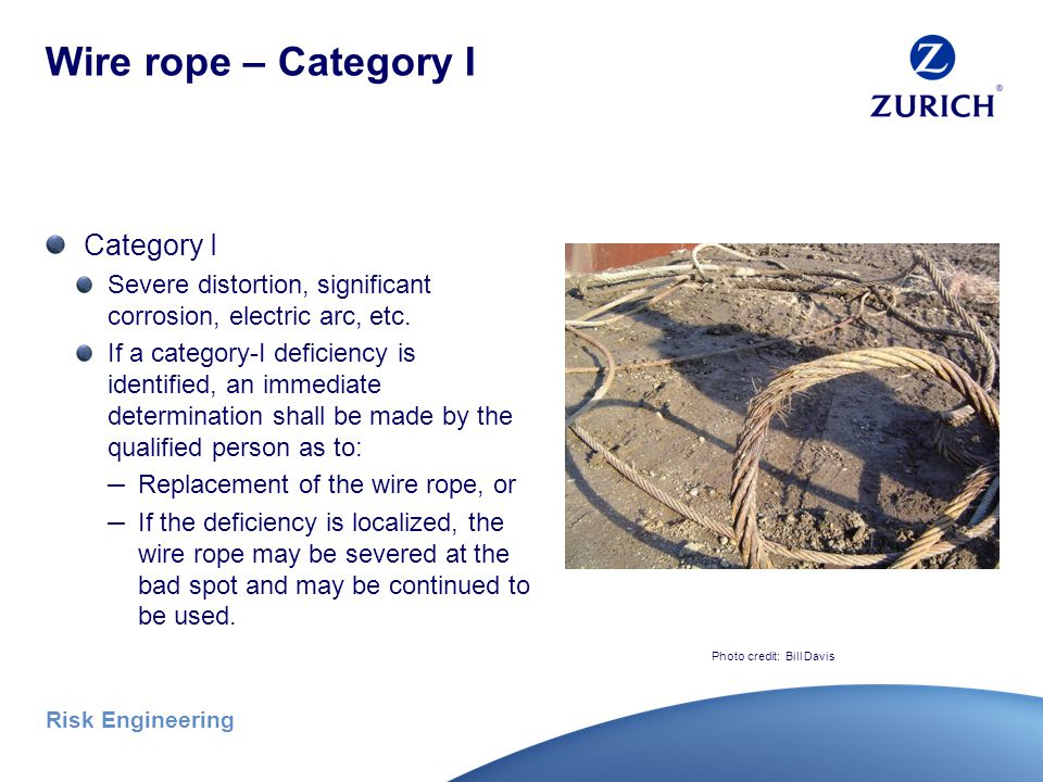 Risk Engineering Wire rope (continued) Shift inspection – before each shift Monthly inspection – all wire ropes, including running ropes (documented) Annual inspection – At least every 12 months, unless not feasible due to set-up.