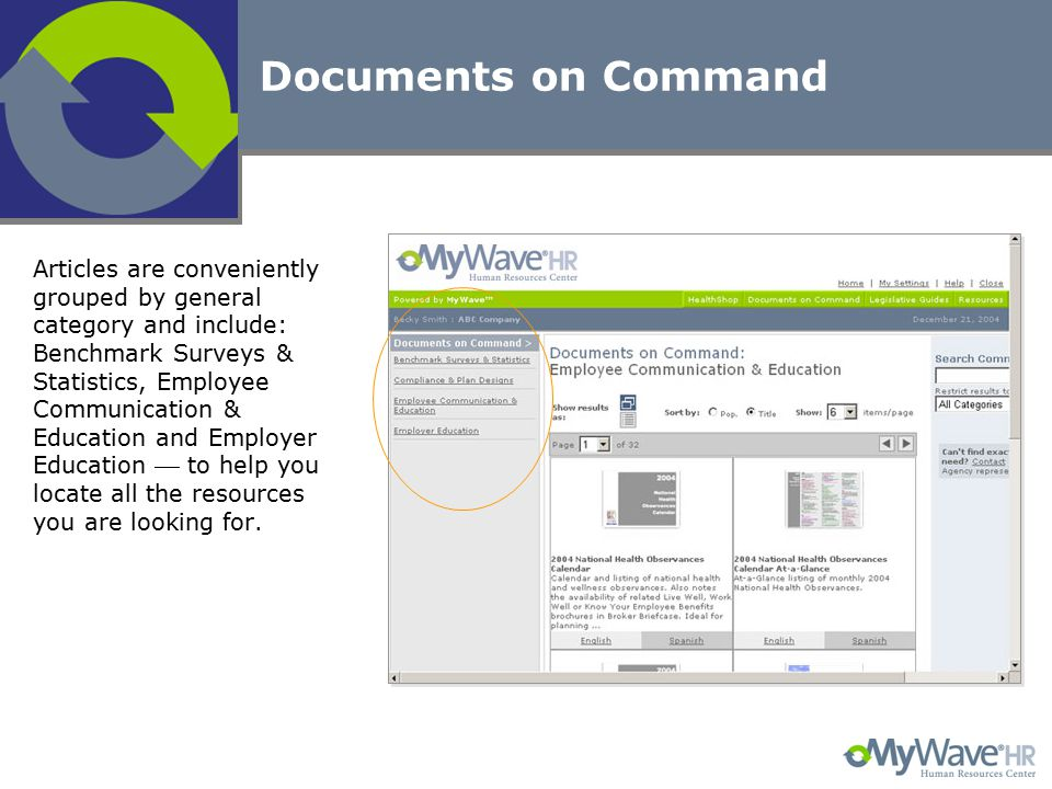 Documents on Command Articles are conveniently grouped by general category and include: Benchmark Surveys & Statistics, Employee Communication & Educa