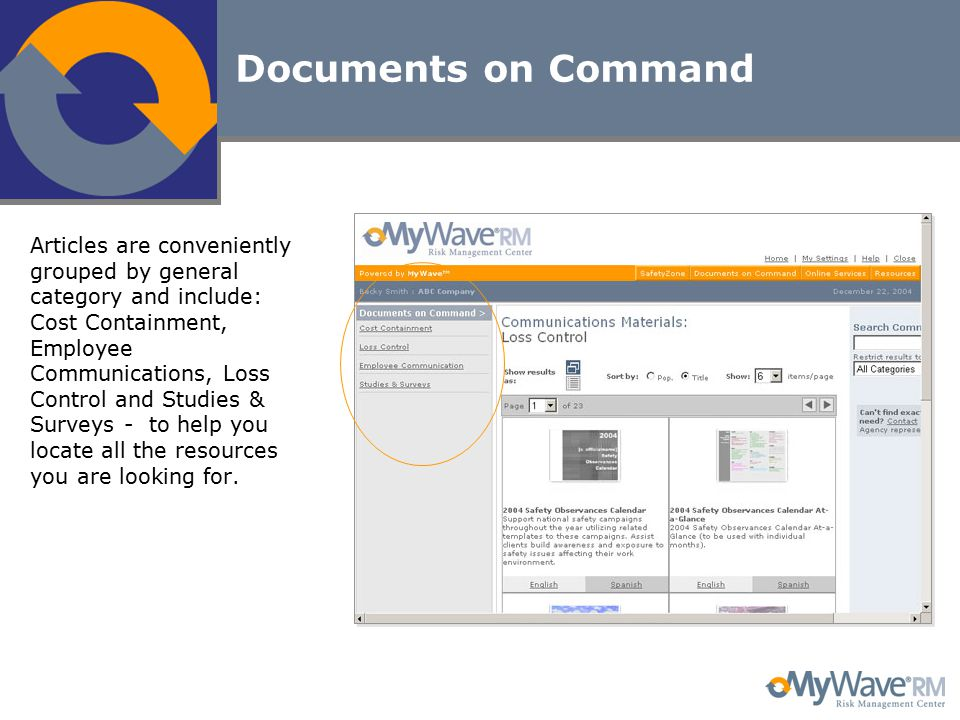 Documents on Command Articles are conveniently grouped by general category and include: Cost Containment, Employee Communications, Loss Control and St