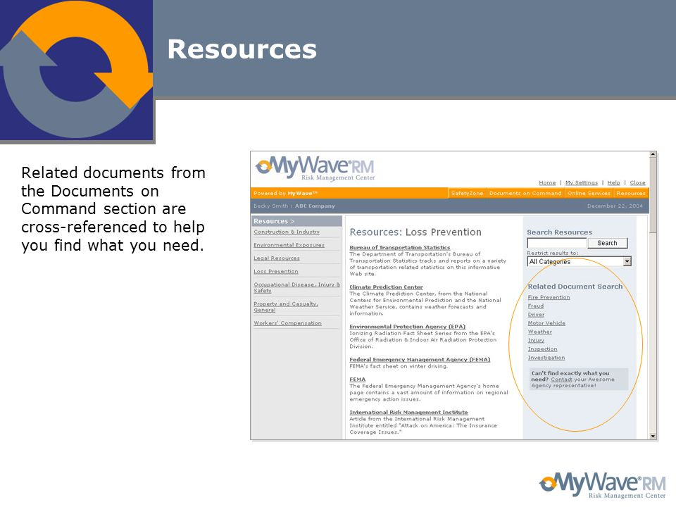 Resources Related documents from the Documents on Command section are cross-referenced to help you find what you need.