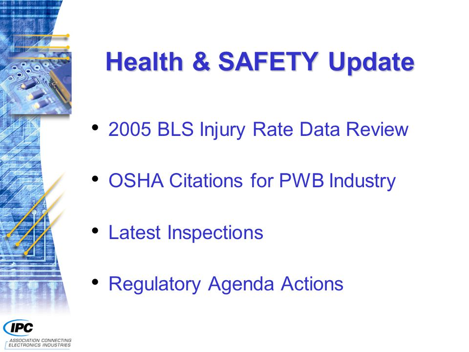 Health & SAFETY Update 2005 BLS Injury Rate Data Review OSHA Citations for PWB Industry Latest Inspections Regulatory Agenda Actions