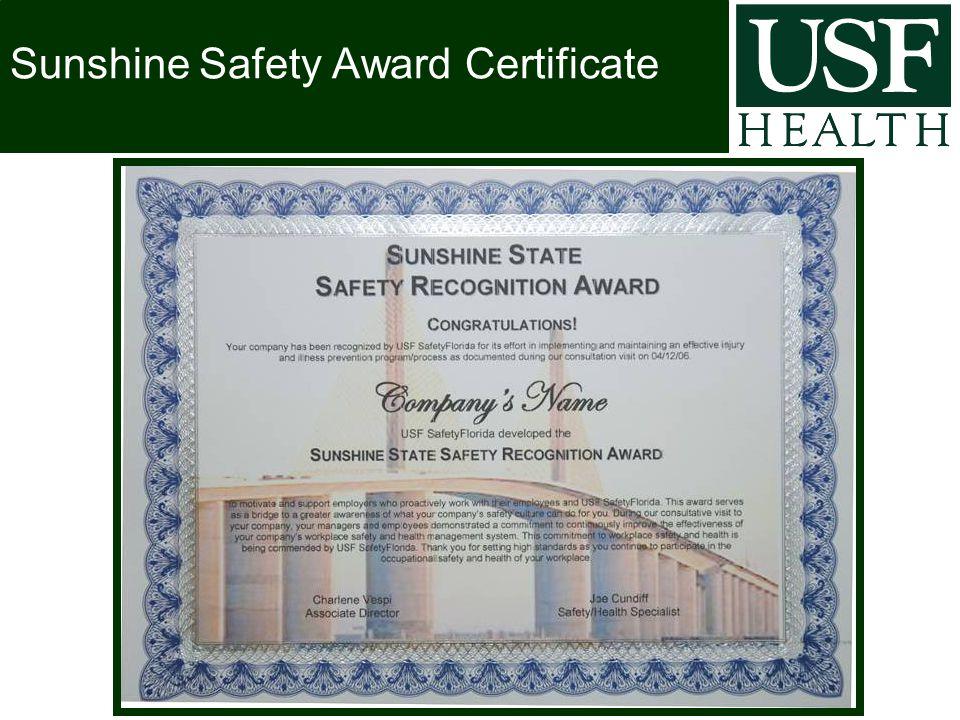 Sunshine Safety Award Certificate