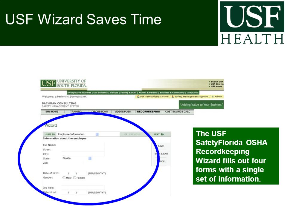 The USF SafetyFlorida OSHA Recordkeeping Wizard fills out four forms with a single set of information.