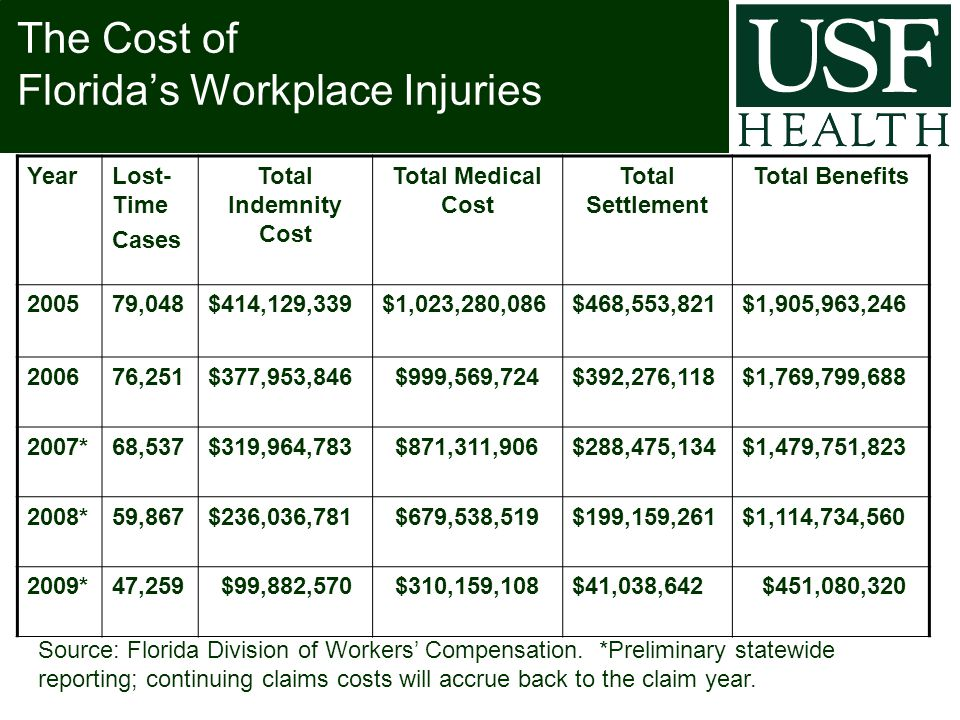 The Cost of Florida's Workplace Injuries YearLost- Time Cases Total Indemnity Cost Total Medical Cost Total Settlement Total Benefits 200579,048$414,129,339$1,023,280,086$468,553,821$1,905,963,246 200676,251$377,953,846 $999,569,724$392,276,118$1,769,799,688 2007*68,537$319,964,783 $871,311,906$288,475,134$1,479,751,823 2008*59,867$236,036,781 $679,538,519$199,159,261$1,114,734,560 2009*47,259 $99,882,570 $310,159,108$41,038,642 $451,080,320 Source: Florida Division of Workers' Compensation.
