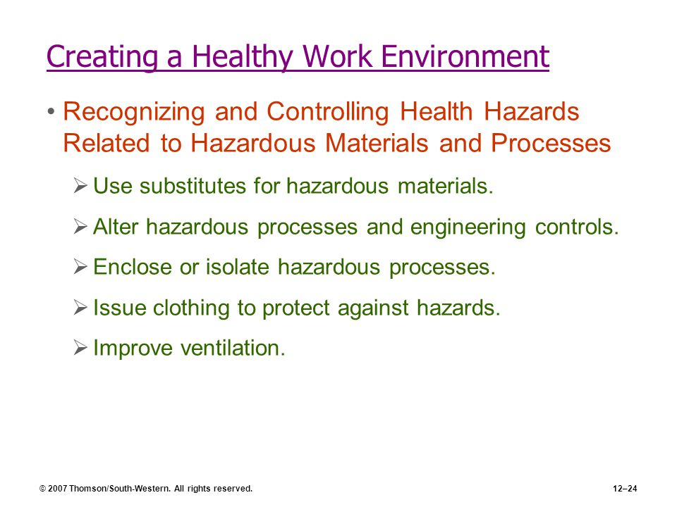 © 2007 Thomson/South-Western. All rights reserved.12–24 Creating a Healthy Work Environment Recognizing and Controlling Health Hazards Related to Haza