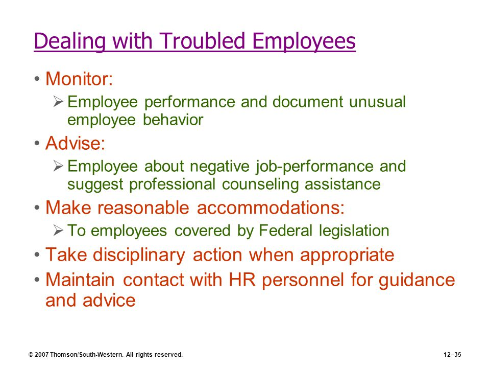 © 2007 Thomson/South-Western. All rights reserved.12–35 Dealing with Troubled Employees Monitor:  Employee performance and document unusual employee