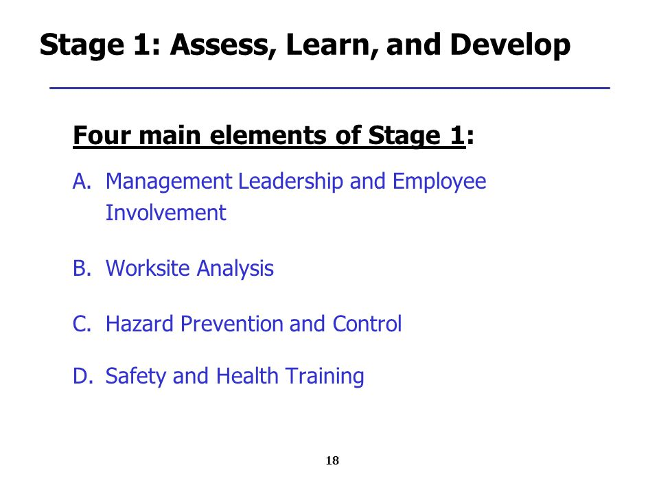 18 Stage 1: Assess, Learn, and Develop Four main elements of Stage 1: A.Management Leadership and Employee Involvement B.Worksite Analysis C.Hazard Prevention and Control D.Safety and Health Training