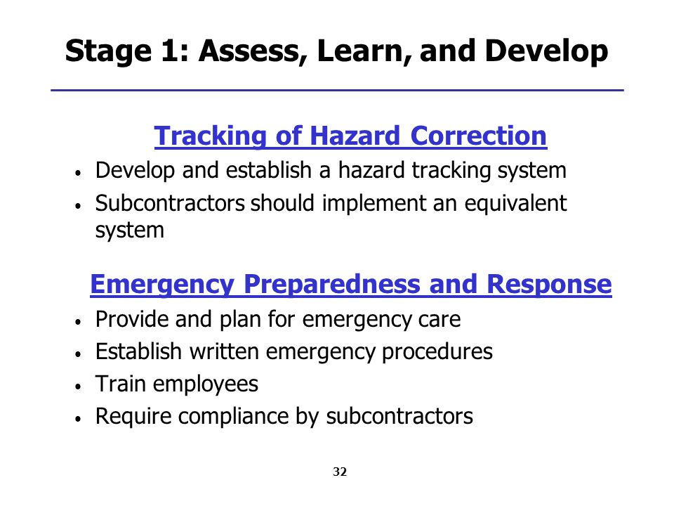 32 Stage 1: Assess, Learn, and Develop Tracking of Hazard Correction Develop and establish a hazard tracking system Subcontractors should implement an