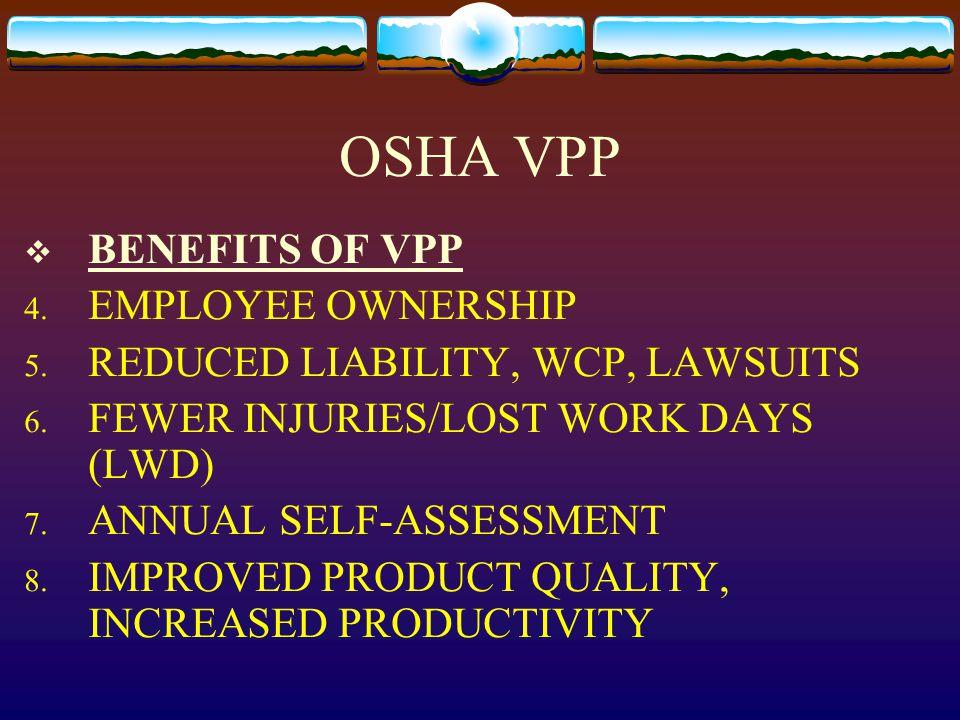OSHA VPP  BENEFITS OF VPP 4. EMPLOYEE OWNERSHIP 5.