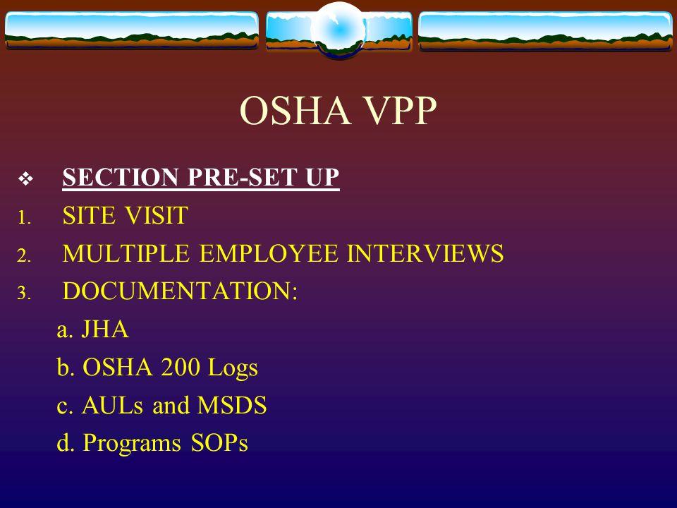 OSHA VPP  SECTION PRE-SET UP 1. SITE VISIT 2. MULTIPLE EMPLOYEE INTERVIEWS 3. DOCUMENTATION: a. JHA b. OSHA 200 Logs c. AULs and MSDS d. Programs SOP