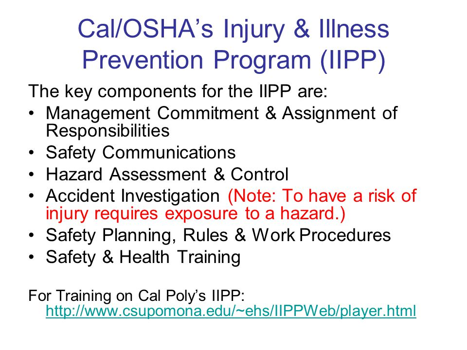 Cal/OSHA's Injury & Illness Prevention Program (IIPP) The key components for the IIPP are: Management Commitment & Assignment of Responsibilities Safety Communications Hazard Assessment & Control Accident Investigation (Note: To have a risk of injury requires exposure to a hazard.) Safety Planning, Rules & Work Procedures Safety & Health Training For Training on Cal Poly's IIPP: http://www.csupomona.edu/~ehs/IIPPWeb/player.html http://www.csupomona.edu/~ehs/IIPPWeb/player.html