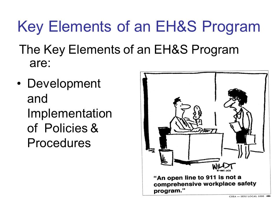 Key Elements of an EH&S Program Development and Implementation of Policies & Procedures The Key Elements of an EH&S Program are: