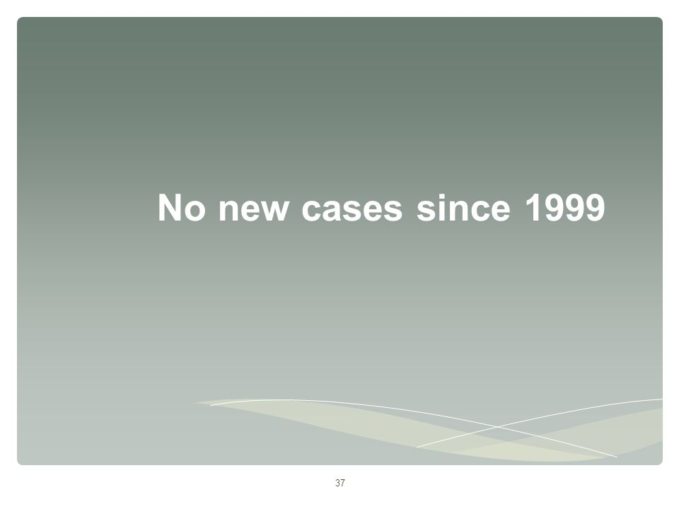 37 No new cases since 1999