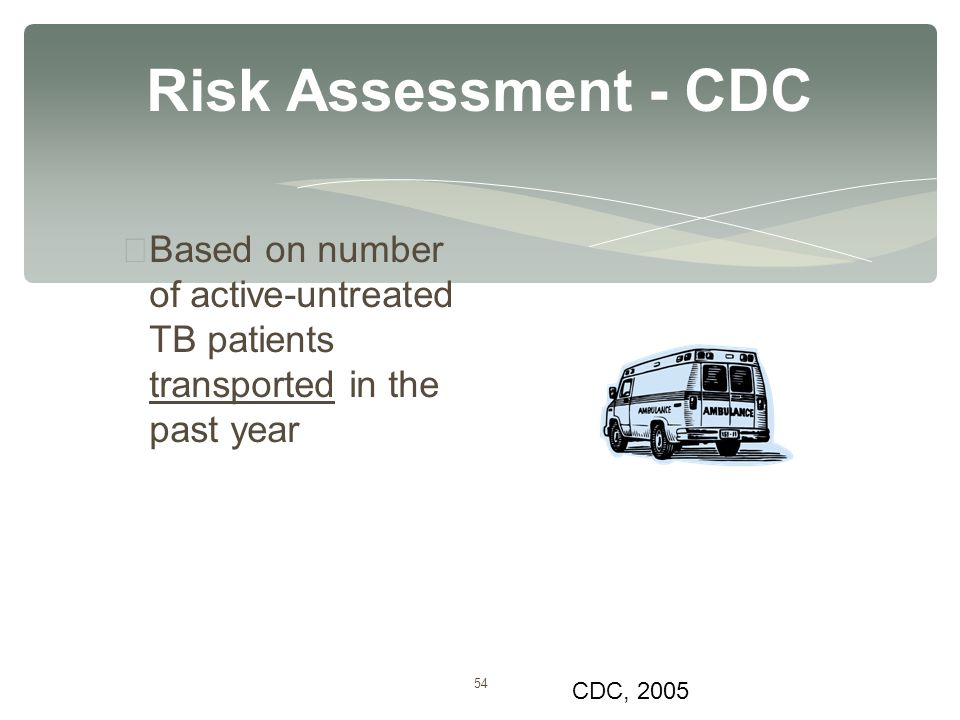 54 Risk Assessment - CDC ∗ Based on number of active-untreated TB patients transported in the past year CDC, 2005