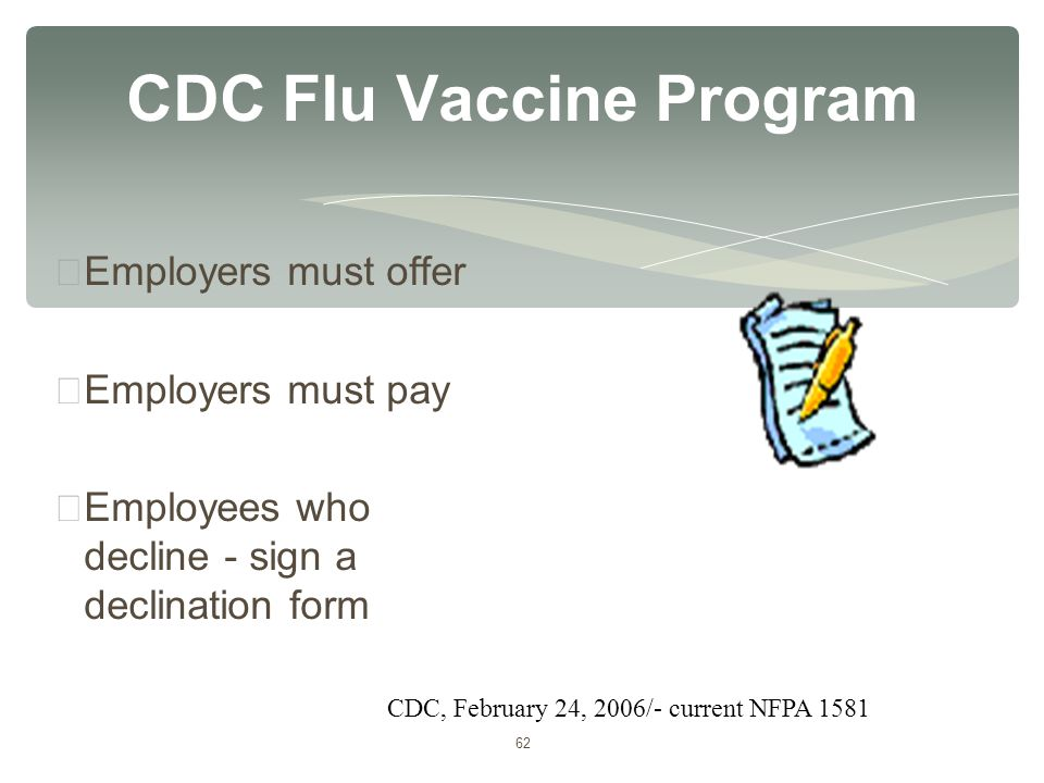 62 CDC Flu Vaccine Program ∗ Employers must offer ∗ Employers must pay ∗ Employees who decline - sign a declination form CDC, February 24, 2006/- curr