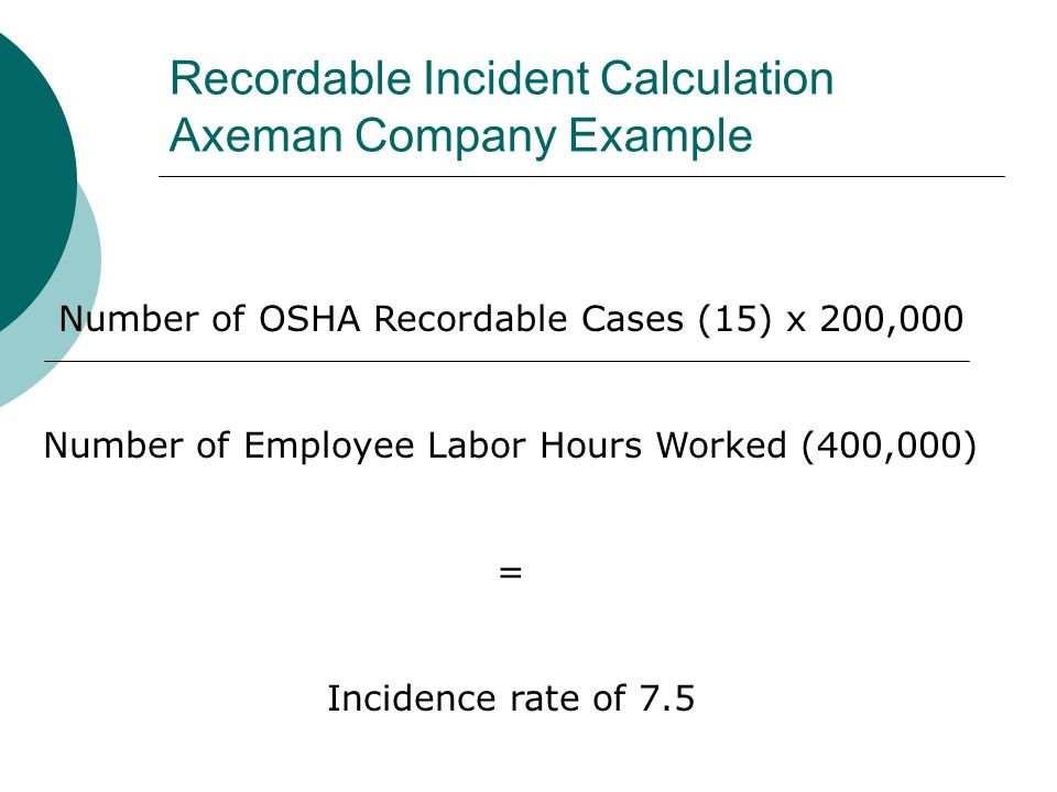 Recordable Incident Calculation Axeman Company Example Number of OSHA Recordable Cases (15) x 200,000 Number of Employee Labor Hours Worked (400,000)