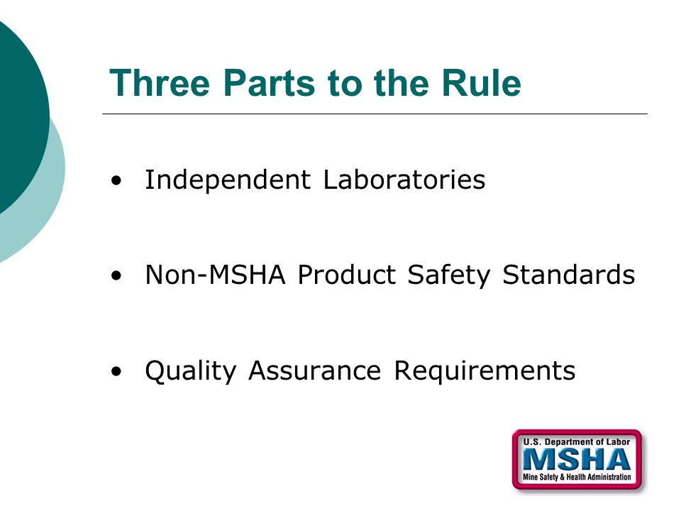 Three Parts to the Rule Independent Laboratories Non-MSHA Product Safety Standards Quality Assurance Requirements