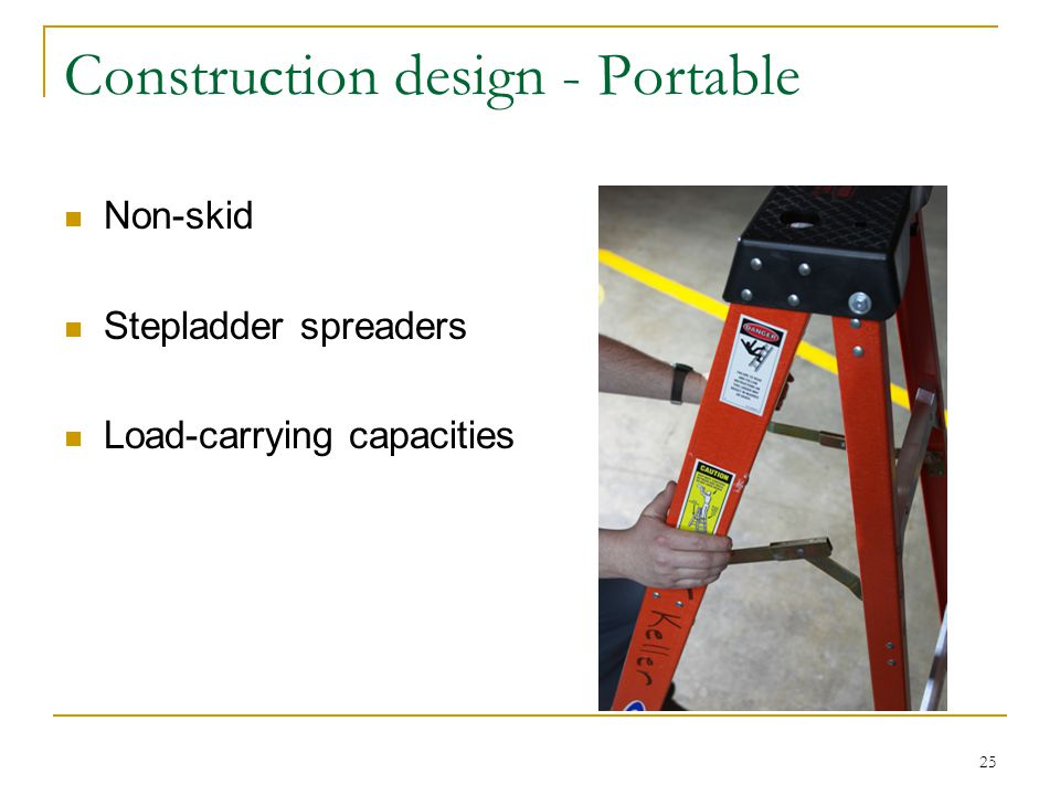 25 Construction design - Portable Non-skid Stepladder spreaders Load-carrying capacities