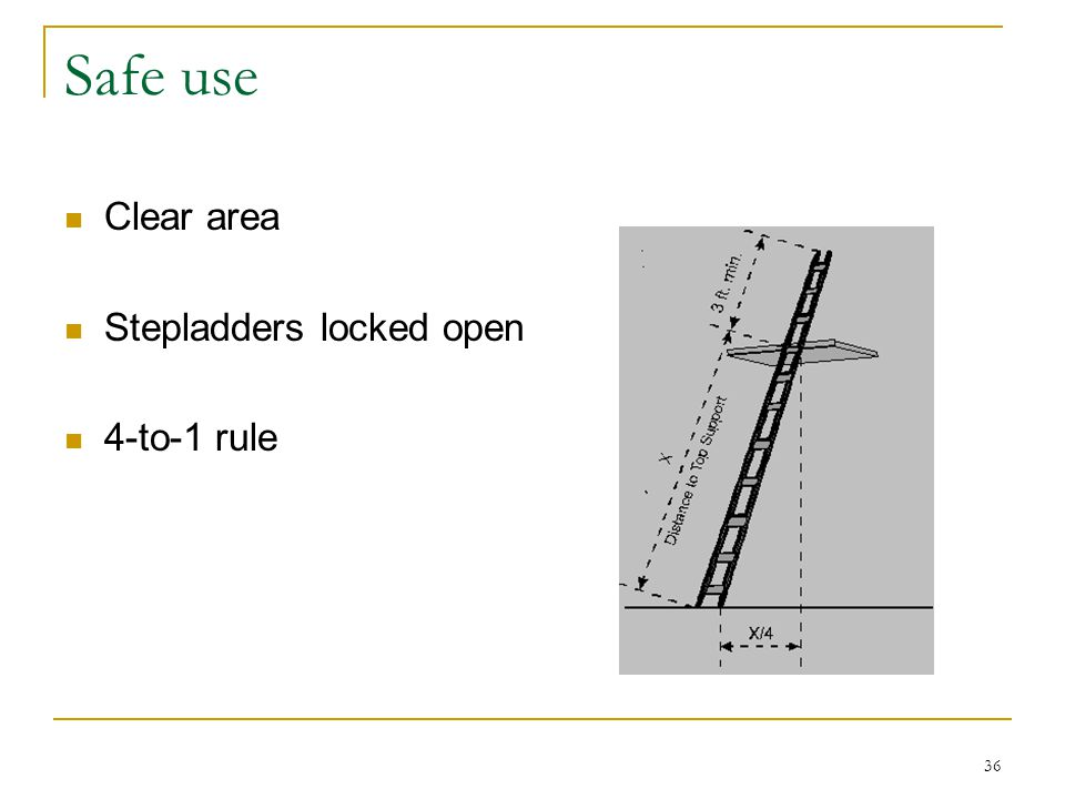 36 Safe use Clear area Stepladders locked open 4-to-1 rule
