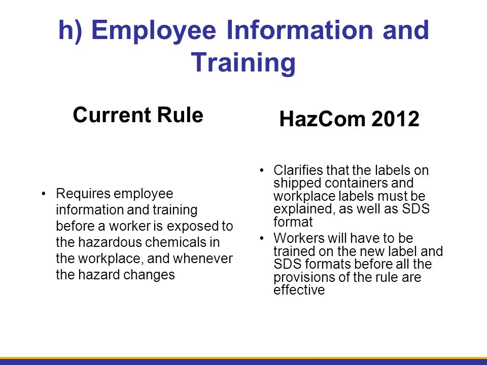 h) Employee Information and Training Current Rule Requires employee information and training before a worker is exposed to the hazardous chemicals in