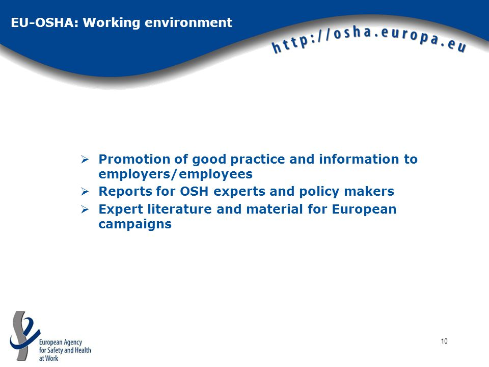 10 EU-OSHA: Working environment  Promotion of good practice and information to employers/employees  Reports for OSH experts and policy makers  Expert literature and material for European campaigns
