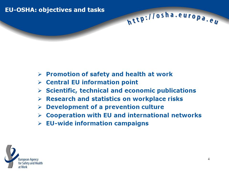 4  Promotion of safety and health at work  Central EU information point  Scientific, technical and economic publications  Research and statistics on workplace risks  Development of a prevention culture  Cooperation with EU and international networks  EU-wide information campaigns EU-OSHA: objectives and tasks