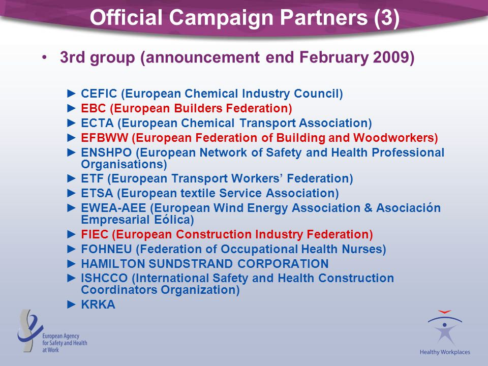 Official Campaign Partners (3) 3rd group (announcement end February 2009) ►CEFIC (European Chemical Industry Council) ►EBC (European Builders Federati