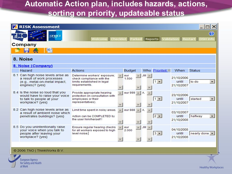 Automatic Action plan, includes hazards, actions, sorting on priority, updateable status