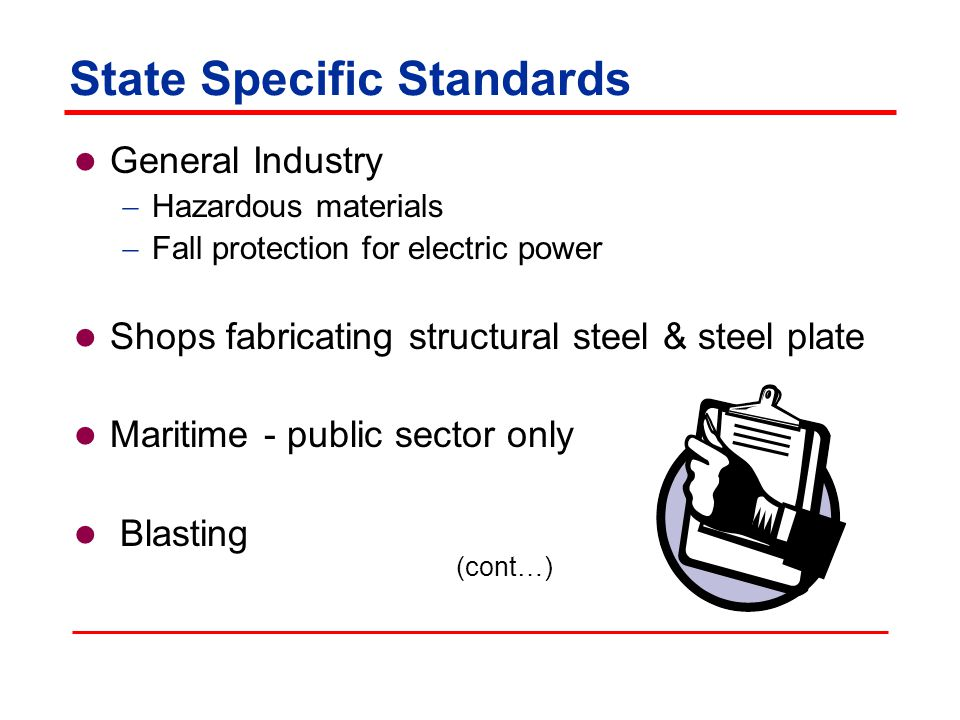 State Specific Standards General Industry  Hazardous materials  Fall protection for electric power Shops fabricating structural steel & steel plate Maritime - public sector only Blasting (cont…)