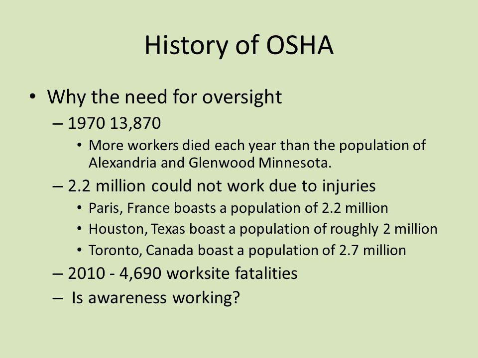 OSHA Standards OSHA -1910 General Industry OSHA -1926 Construction OSHA -1915, 1917, 1918 Maritime OSHA -1928 Agriculture Which standard governs our industry?