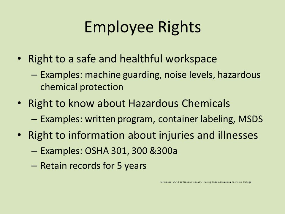 Employee Rights Right to a safe and healthful workspace – Examples: machine guarding, noise levels, hazardous chemical protection Right to know about Hazardous Chemicals – Examples: written program, container labeling, MSDS Right to information about injuries and illnesses – Examples: OSHA 301, 300 &300a – Retain records for 5 years Reference: OSHA 10 General Industry Training Slides Alexandria Technical College