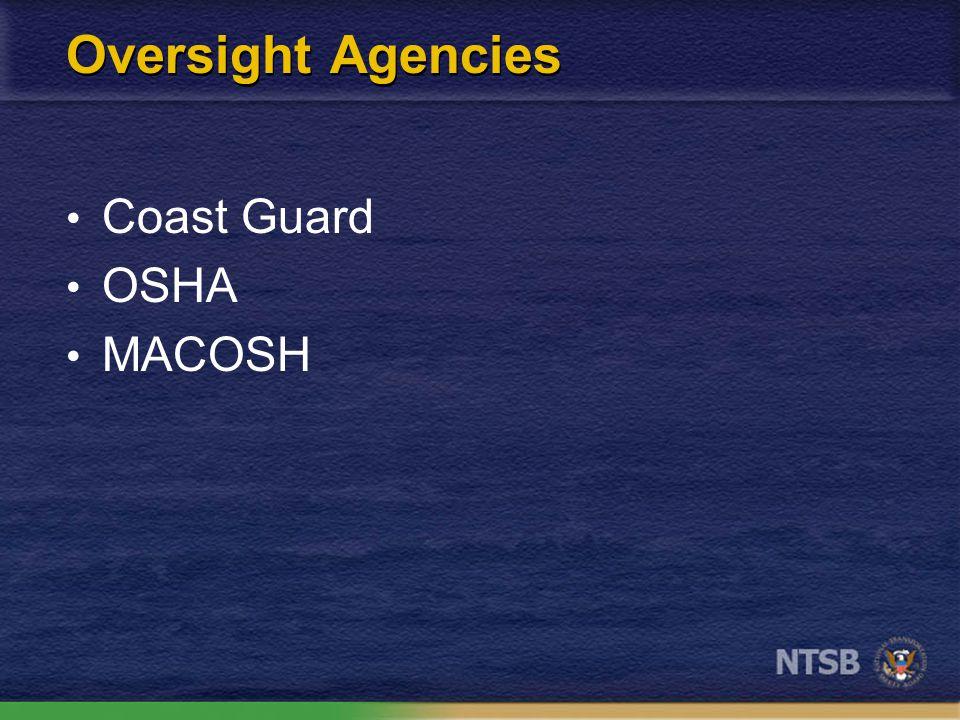 Oversight Agencies Coast Guard OSHA MACOSH