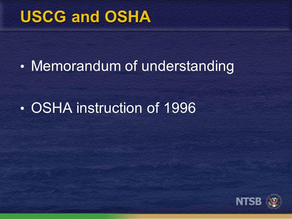 USCG and OSHA Memorandum of understanding OSHA instruction of 1996