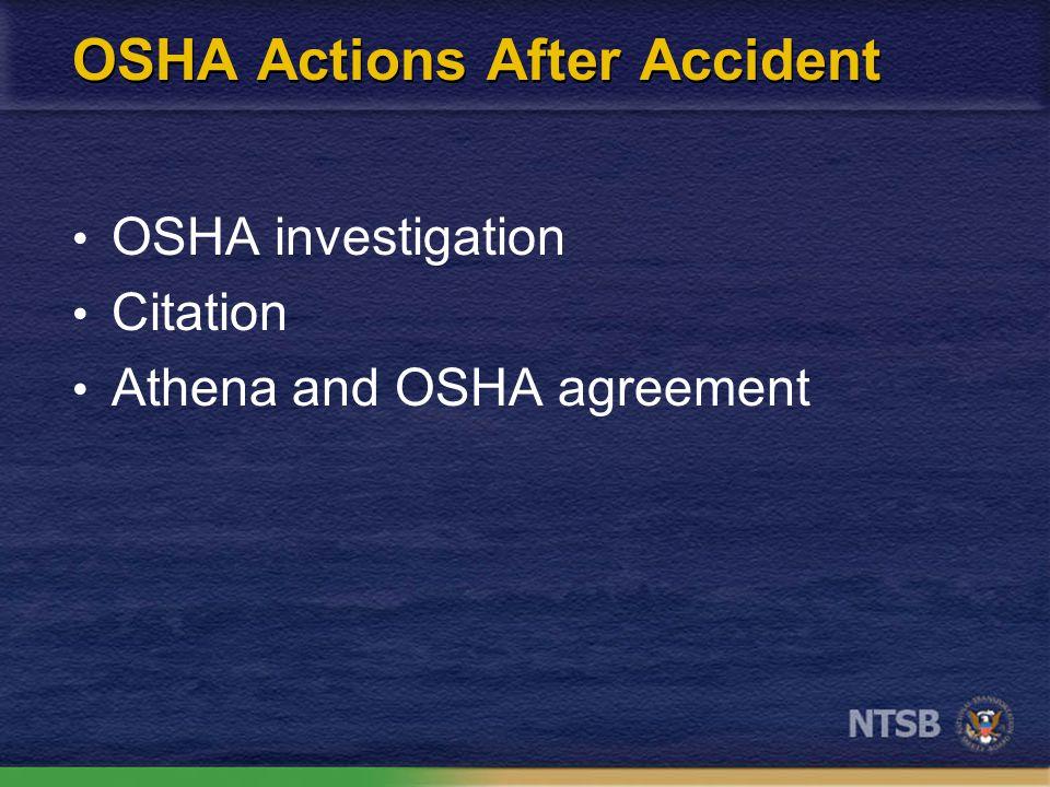 OSHA Actions After Accident OSHA investigation Citation Athena and OSHA agreement