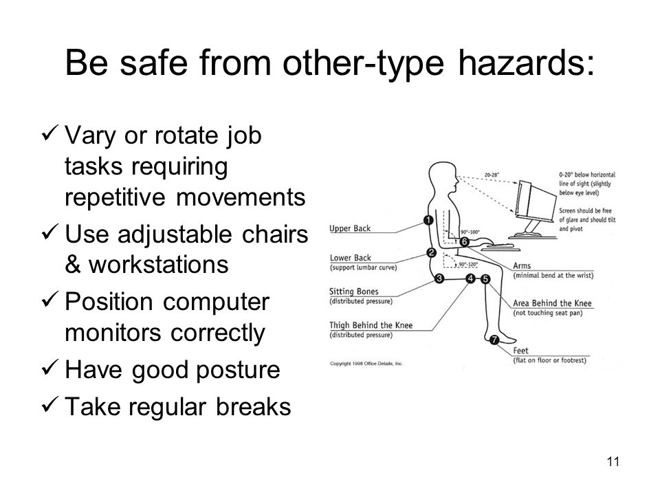 11 Be safe from other-type hazards: Vary or rotate job tasks requiring repetitive movements Use adjustable chairs & workstations Position computer monitors correctly Have good posture Take regular breaks