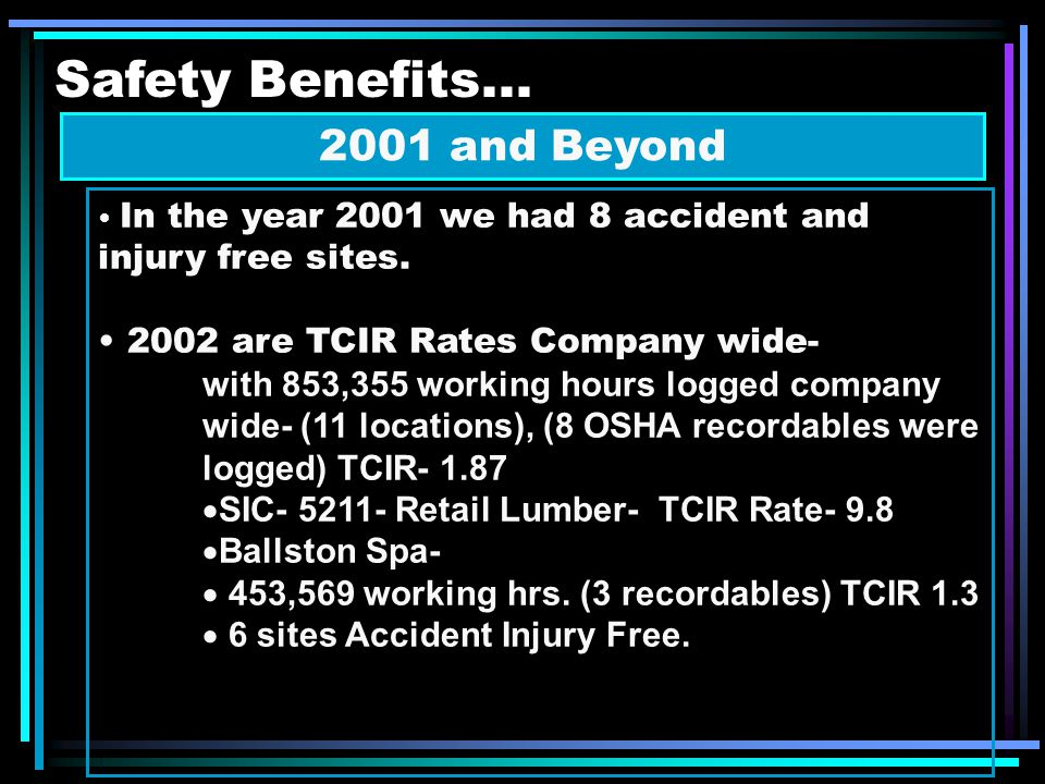 Safety Benefits... 2001 and Beyond In the year 2001 we had 8 accident and injury free sites.
