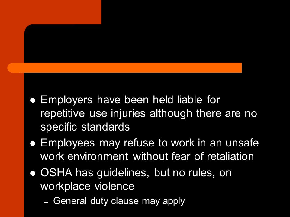 Elements of a Violation To establish violation of a safety standard, OSHA must show all the following: – 1.
