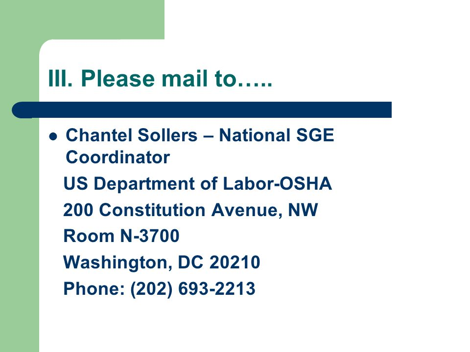III. Please mail to…..