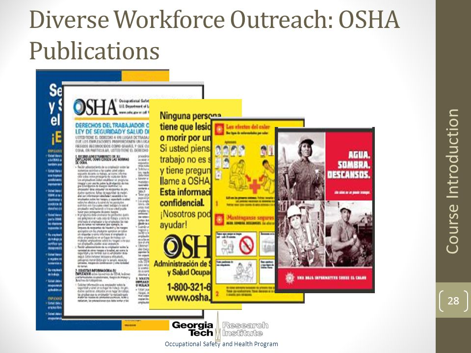 Occupational Safety and Health Program Diverse Workforce Outreach: OSHA Publications Course Introduction 28