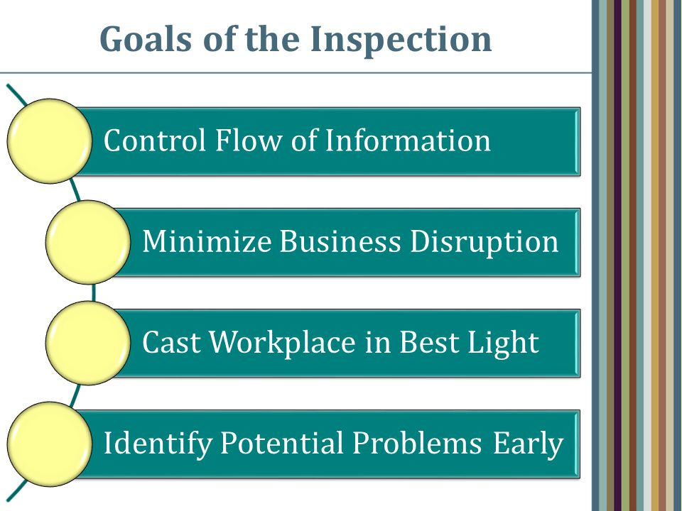 Goals of the Inspection Control Flow of Information Minimize Business Disruption Cast Workplace in Best Light Identify Potential Problems Early