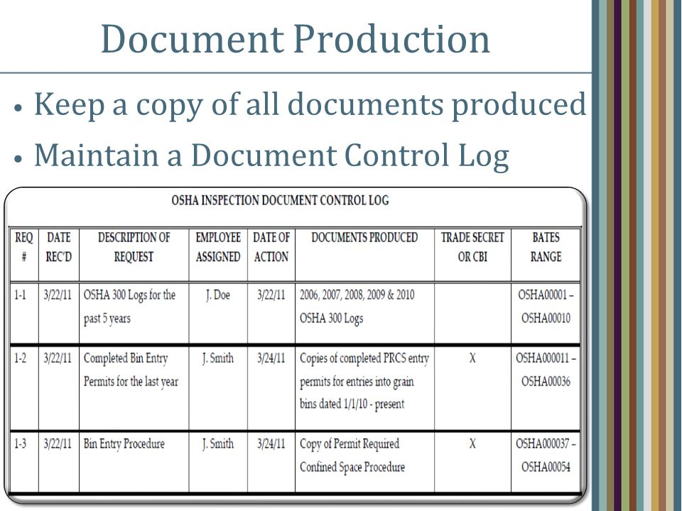 Document Production Keep a copy of all documents produced Maintain a Document Control Log
